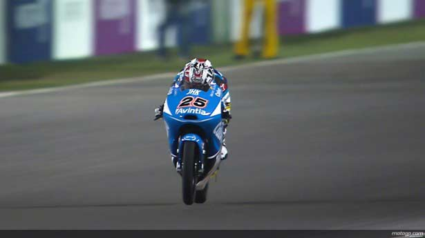 Maverick Viñales durante el Warm Up de Moto3